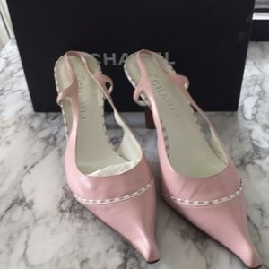 Authentic Chanel Pink Leather Heels